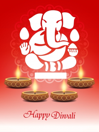 religious elegant background for diwali with beautiful ganesha and lamps  Vector