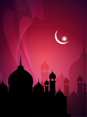 feter: abstract colorful eid background with mosque  Illustration