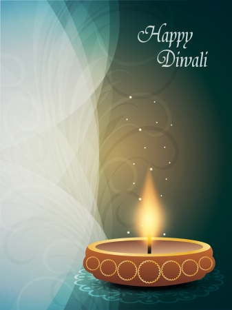 beautiful religious background with beautiful lamp for diwali festival  Vector