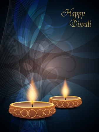elegant background for diwali with beautiful lamps  Vector