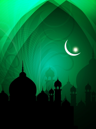 islam moon: religeous colorful eid background with mosque