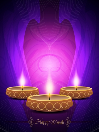 religious background with beautiful lamps for diwali festival Stock Vector - 16135768