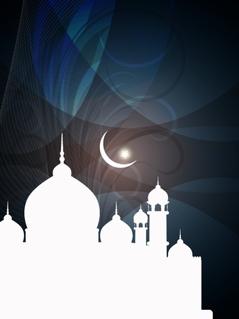 islam moon: abstract colorful eid background with mosque  Illustration