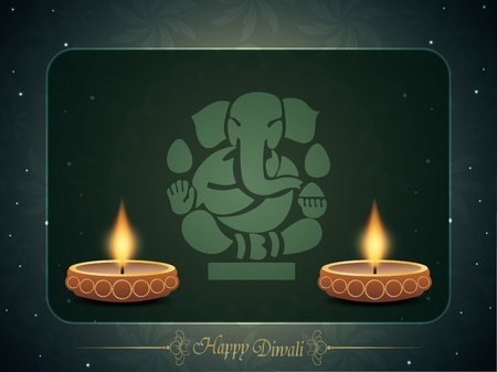 Colorful background for diwali with beautiful lamps and ganpati. Vector