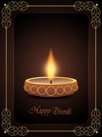 Religious background for diwali with beautiful lamp. Vector