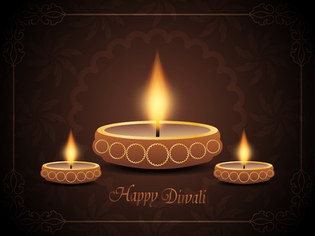 elegant background design for diwali festival in brown color with three beautiful lamps. Vector