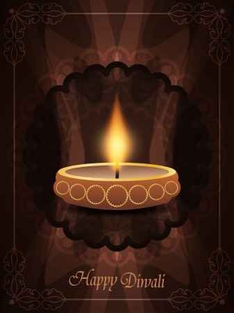 religious background in violet color with beautiful lamp for diwali festival. Vector