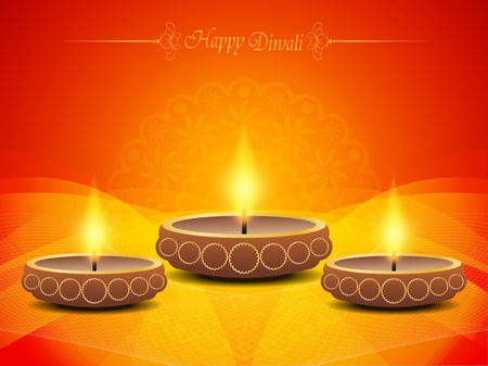 hindu god: religious background in violet color with beautiful lamps for diwali festival. Illustration