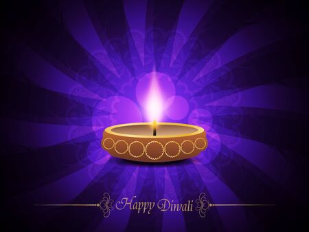 Colorful background design with beautiful lamp for diwali festival. Vector