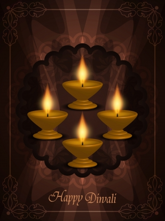 ganpati: Colorful background design with beautiful lamps for diwali festival.