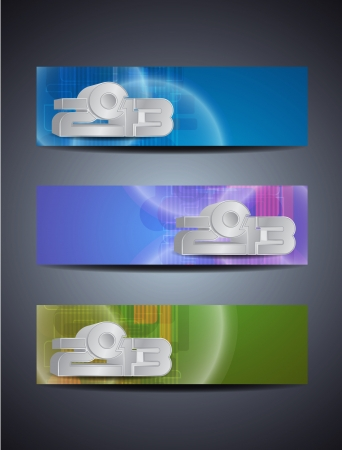 set of abstract web header/banner designs for 2013 Stock Vector - 16481432