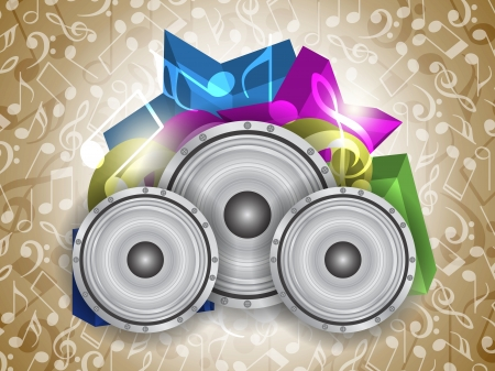 Abstract music theme background with loudspeakers Vector