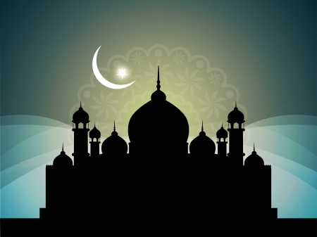 islam moon: Abstract religious background with mosque.