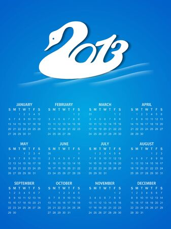Beautiful calendar design in blue color with artistic 2013 design in duck style. Vector