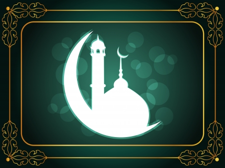 ramadan mubarak card: Abstract religious eid background with mosque.