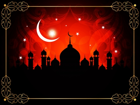 Abstract religious eid background with mosque.  Stock Vector - 17127228