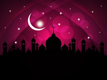 beautiful allah: Artistic religious eid background with mosque.