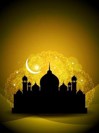 feter: Artistic religious eid background with mosque.