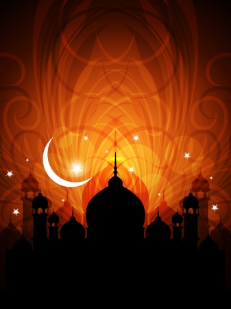 ramadan kareem: Artistic religious eid background with mosque.