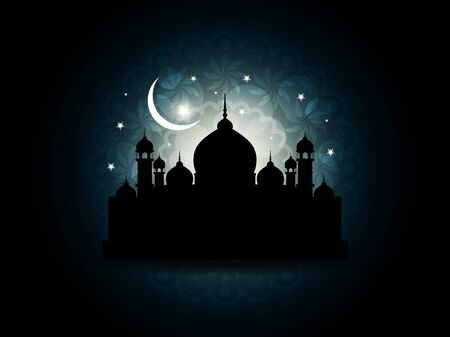 muslim celebration: Abstract religious eid background with mosque.