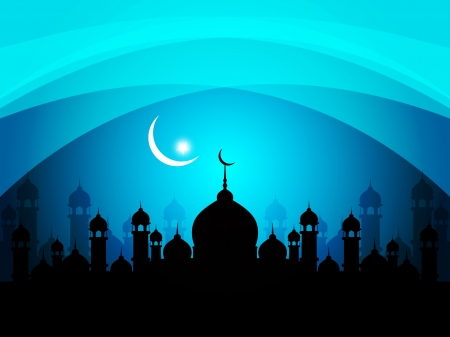 islamic art: Abstract religious eid background with mosque.
