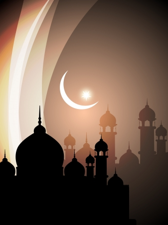 muslim pray: Abstract religious eid background with mosque.