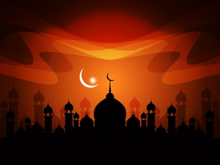 Abstract religious eid background with mosque.  Stock Vector - 17129262