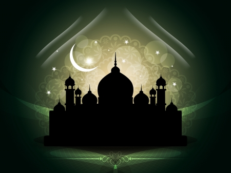 ramazan: Artistic religious eid background with mosque.