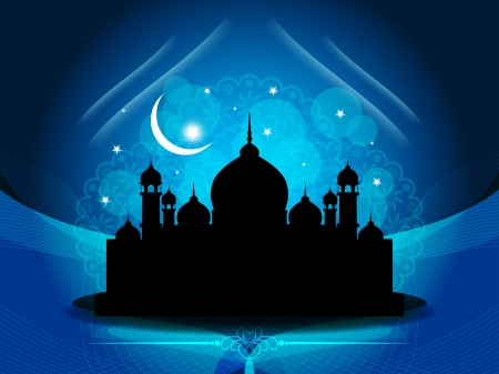 Artistic religious eid background with mosque. Stock Vector - 17130325