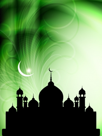 Artistic religious eid background with mosque. Stock Vector - 17439850
