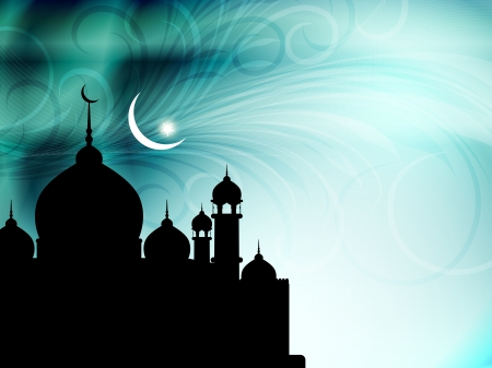 mosque illustration: Artistic religious eid background with mosque.