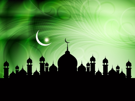 relegion: Vector illustration of abstract beautiful eid background with mosque.