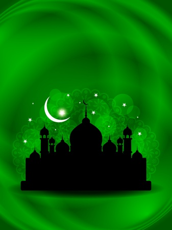 islam moon: illustration of abstract beautiful eid background with mosque. Illustration