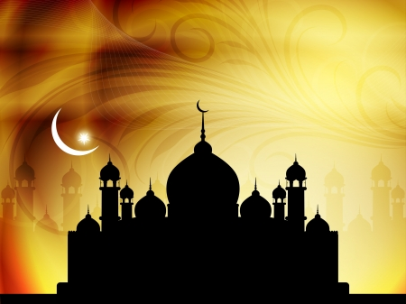 illustration of abstract beautiful eid background with mosque.