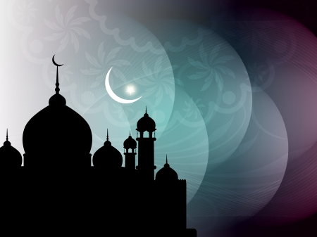 Artistic religious Eid background with mosque. Stock Vector - 19000443