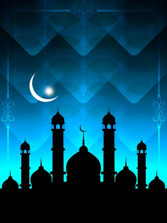 relegion: Artistic religious Eid background with mosque.  Illustration