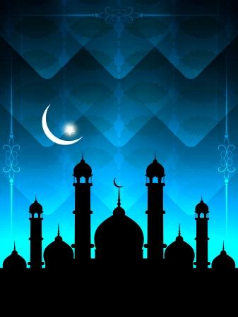 relegion: Artistic religious Eid background with mosque.  Illustration
