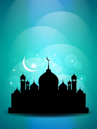 feter: Artistic religious Eid background with mosque.  Illustration