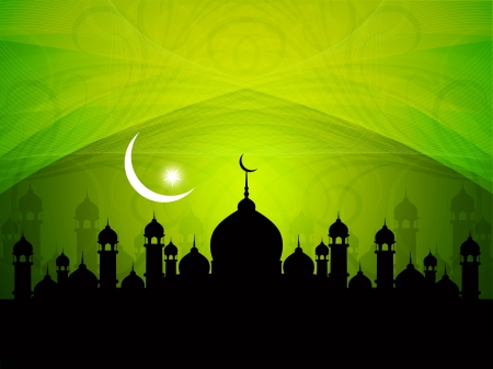 islam moon: Artistic religious Eid background with mosque