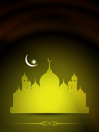 islamic pray: Artistic religious Eid background with mosque
