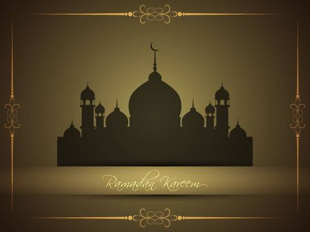 Abstract religious eid background with mosque. Vector