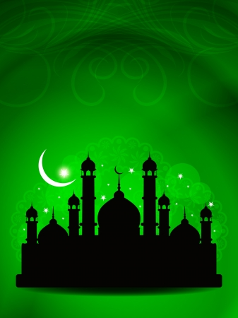 mosque illustration: Abstract religious eid background with mosque.
