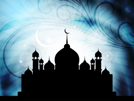 mosque illustration: Abstract religious eid background with mosque