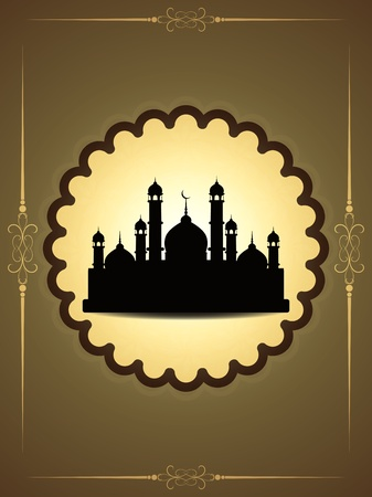 muslim pray: Artistic religious eid background with mosque.