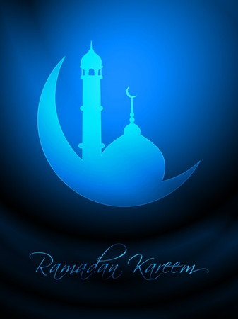muslim celebration: Artistic religious eid background with mosque.