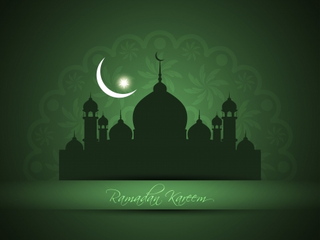 islamic ramadan: Artistic religious eid background with mosque.