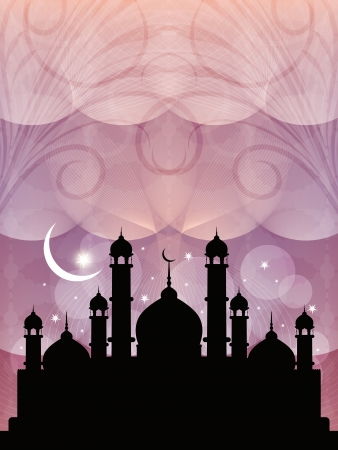 arabian background: Artistic religious eid background with mosque.