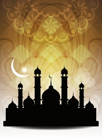 Artistic religious eid background with mosque. Vector