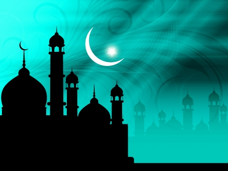 Artistic religious eid background with mosque. Stock Vector - 19915707