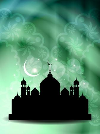 religious celebration: Artistic religious eid background with mosque.